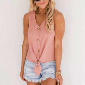 Pink Lily   Button Tie Up Peach Tank